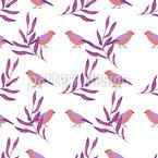 Blätter Und Vögel Nahtloses Vektormuster