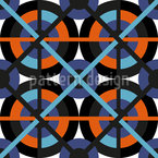 Networked Wheels Seamless Vector Pattern Design