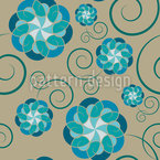 Floating Fantasy Flowers Seamless Vector Pattern Design