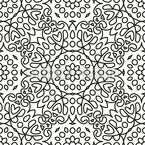 Floral Circles And Squares Vector Pattern