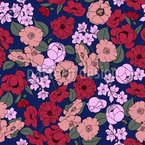 Flowers In Contrast Seamless Vector Pattern Design