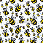 Bee Party Seamless Vector Pattern Design