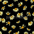Daisies In The Dark Seamless Vector Pattern Design