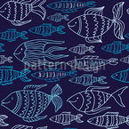 Marine Fishes Seamless Vector Pattern Design