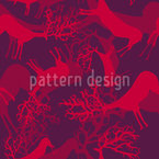 Silhouettes Of Deers Seamless Vector Pattern Design