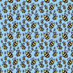 Happy Bee Seamless Vector Pattern Design