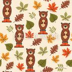 Herbstbären Nahtloses Vektormuster