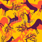 Vibrant Silhouettes Of Deers Seamless Vector Pattern Design