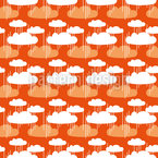 Clouds And Rainshower Seamless Vector Pattern Design