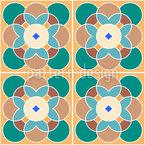 Retro Blumenfliese Nahtloses Vektormuster