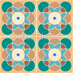 Ретро цветок плитка Бесшовный дизайн векторных узоров