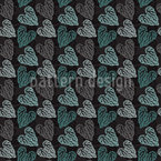 Nordic Floral Hearts Seamless Vector Pattern Design