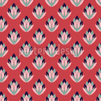Stylized Retro Flower Repeating Pattern