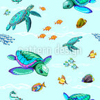 Sea Turtles Dance Seamless Vector Pattern Design
