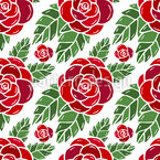 Red Roses And Leaves Seamless Vector Pattern Design