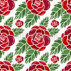Rote Rosen Und Blätter Nahtloses Vektormuster