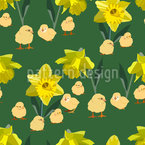 Chick Between Daffodils Repeat Pattern
