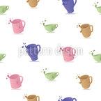 Kubki do herbaty z kroplami bezszwowy wzór wektorowy.
