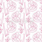 One Line Blumen Nahtloses Vektor Muster