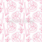 One Line Flowers Seamless Vector Pattern Design