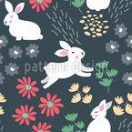 Kaninchen Im Garten Nahtloses Vektormuster