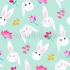 Cabeças de coelho Design de padrão vetorial sem costura