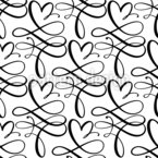 Heart Swirls Seamless Vector Pattern Design
