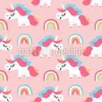 Cute Unicorns And Rainbows Seamless Vector Pattern