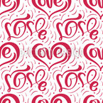 One Line Love Seamless Vector Pattern Design