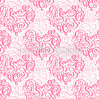 Flourish Swirl Hearts Seamless Vector Pattern Design
