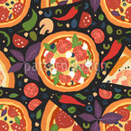 Italian Salami Pizza Seamless Vector Pattern Design