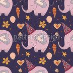 Lindo elefante cumpleaños Estampado Vectorial Sin Costura