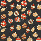 Wintry Christmas Tree Decorations Seamless Vector Pattern Design