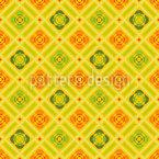 Karo Mit Blüten Und Bändern Muster Design