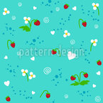 Blumen Und Erdbeeren Nahtloses Vektormuster