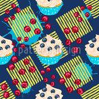 Cupcakes Auf Streifen Nahtloses Vektormuster