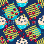 Cupcakes On Stripes Seamless Vector Pattern Design