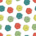 幼稚なタッチのバラ シームレスなベクトルパターン設計