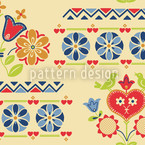 Gipsy Heart At Day Seamless Vector Pattern Design