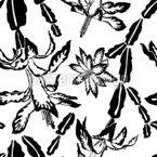 Monochrome Blühende Kakteen Nahtloses Vektormuster