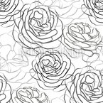 Rose Petals Line Drawing Seamless Vector Pattern Design