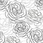 Rosenblätter Strichzeichnung Nahtloses Vektormuster