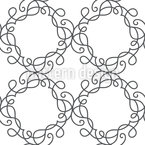 Flourish Swirl Wreath Seamless Vector Pattern Design
