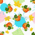 Abstract Pumpkins And Leaves Seamless Pattern