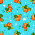 Pumpkins And Hearts Seamless Vector Pattern