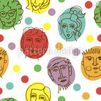 Funny Faces On Circles Seamless Vector Pattern Design