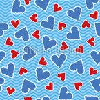 Herzbriefmarken Nahtloses Vektormuster