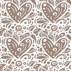 Leaves And Hearts Seamless Vector Pattern Design