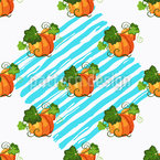 Pumpkins On Stripes Repeat Pattern