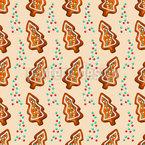 Gingerbread Fir Tree Seamless Vector Pattern Design